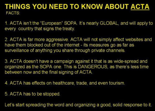 World War Web Advisory #2: We Must Stop ACTA (the Anti-Counterfeiting Trade Agreement)