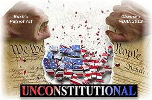 NDAA 2012 Obama + Patriot Act Bush = Same Corporate Fascism